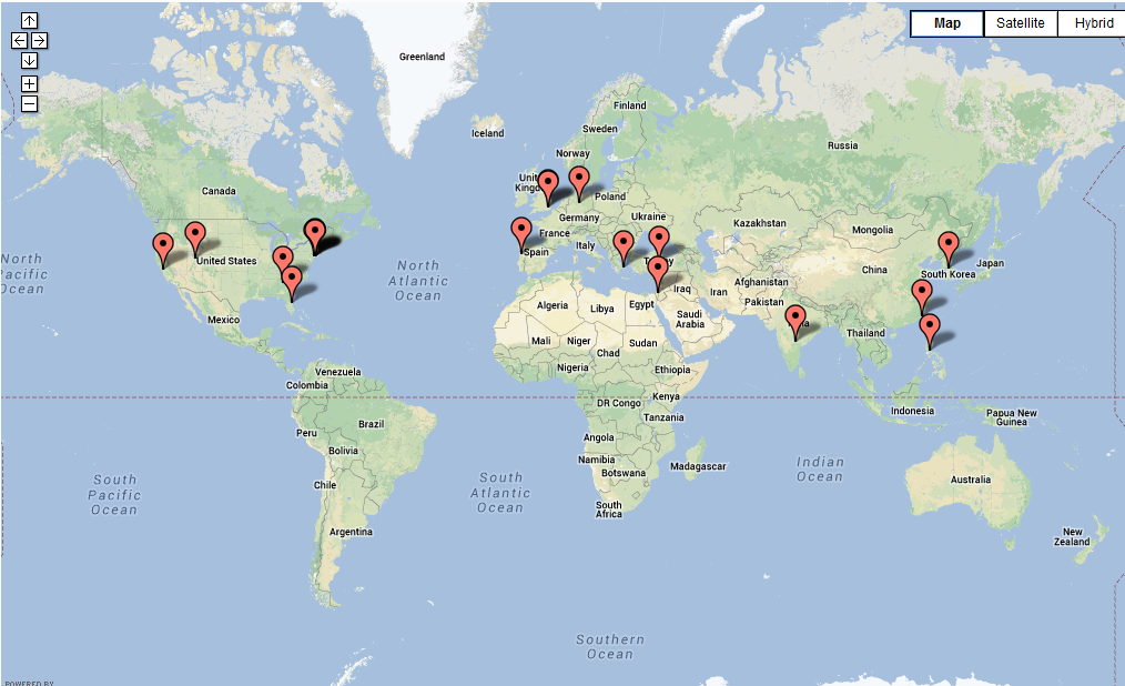 location map of recent visitors